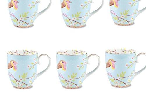PiP Studio Kaffeebecher Becher Mug Early Bird blau/Blue (6er-Set) Verspieltes und farbenfrohes Dekor