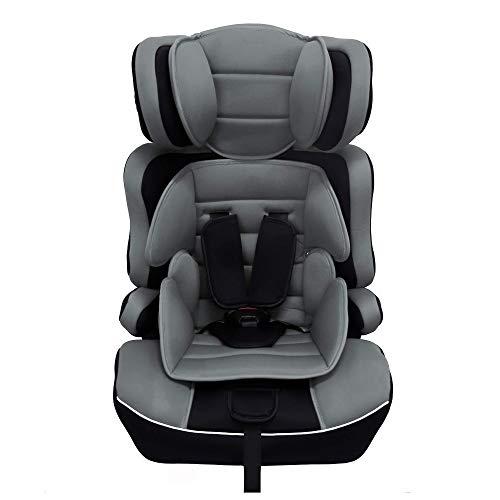 Arebos Silla de auto para niños | Arnés de seguridad de 5 puntos | Grupo 1+2+3 para 9-36kg | Reposacabezas ajustable | ECE R44/04 | Respaldo desmontable | Ajustable (44 x 44 x 66-78 cm) (Gris)