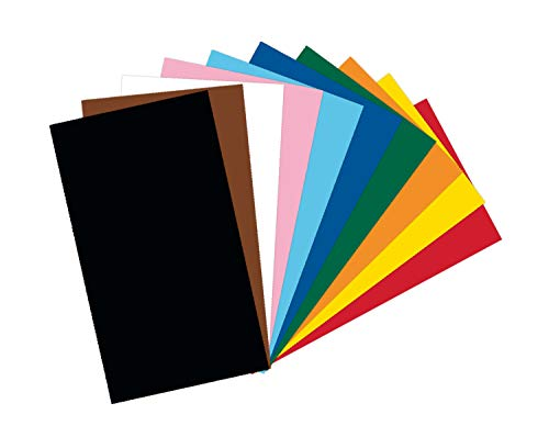 folia 6122/4/09 - Tonkarton Mix, DIN A4, 220 g/m², 100 Blatt sortiert in 10 Farben, zum Basteln und kreativen Gestalten von Karten, Fensterbildern und für Scrapbooking