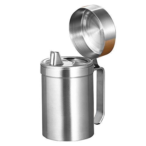 Botella dispensadora de aceite de oliva de acero inoxidable, a prueba de fugas, dispensador de cocina sin goteo, contenedor de almacenamiento con tapa, fácil de llenar y limpiar (550 ml)