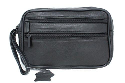 Frédéric Johns® - Herrenhandtasche - Herren echt Leder Handgelenktasche I Herrenhandtasche I weiche Lamm Leder I Einzelkammer I Business Tasche (Schwarz2)