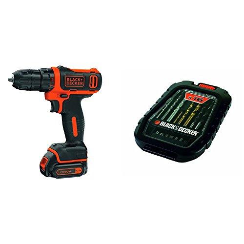 Black & Decker BDCDD12-QW - Taladro atornillador sin cable, 10.8 V, 1.5 Ah Litio + Black & Decker A7186-XJ - Pack de 16 piezas para taladrar y atornillar (titanio)