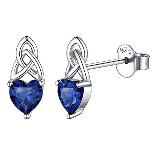 Septiembre Pendientes Irlandeses Nudo Celta Piedras de 12 Meses Corazón Joyería Hipoalergénica Plata de Ley 925 para Mujer Diamantes de Nacimiento Zafiro Azul Oscuro