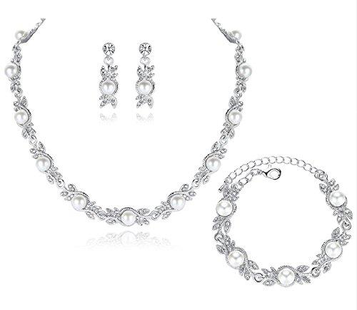 Unbekannt 3 TLG. Set Collier Halskette Ohrringe Armband Strass Perlen Brautschmuck Hochzeit Braut SCHMUCK Hochzeit