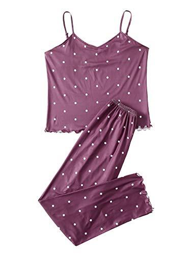 DIDK Damska piżama, wielokolorowa, luźna bluzka z ramiączkami spaghetti, zestaw spodni, piżama z obszyciem falistym