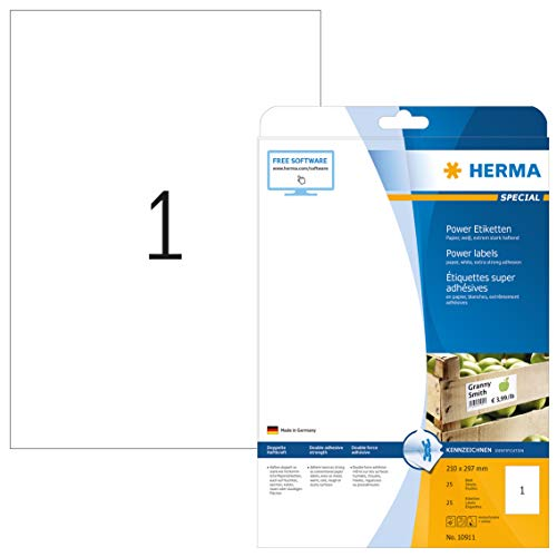 HERMA 10911 Power Etiketten DIN A4 groß (210 x 297 mm, 25 Blatt, Papier, matt) selbstklebend, bedruckbar, extrem stark haftende Universal Etiketten, 25 Klebeetiketten, weiß