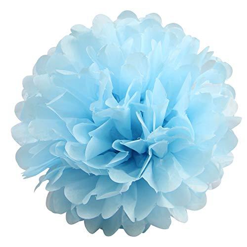 """10 pompones de papel de seda para colgar, pompones de papel de seda para decoración de boda, cumpleaños, fiesta (rosa, rosa claro y rosa), azul celeste, 8"""""""