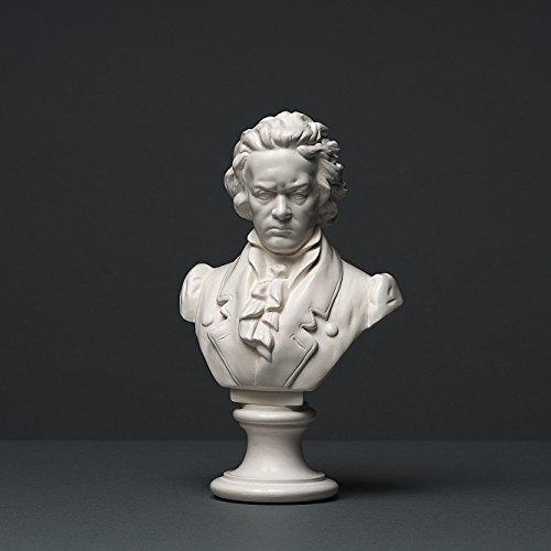 Alex Agwanjan Beethoven Skulptur aus hochwertigem Zellan, echte Handarbeit Made in Germany, Büste in weiß, 20cm