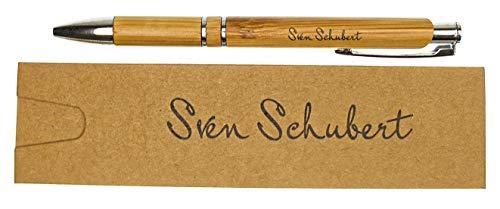 GRAVURZEILE Kugelschreiber mit Gravur aus Holz + Geschenk-Etui mit Namen Gravur - Schwarzschreibend Drehfunktion Drehkugelschreiber Rollerball - Personalisierter Kugelschreiber