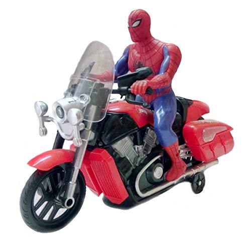 IndusBay® Bump and Go Spiderman Bike Toy , Battery Operated Light Sound Bike, Avenger Spider Man Musical Motorcycle Motor Bike Toy for Kids Toddler Light Music Bike