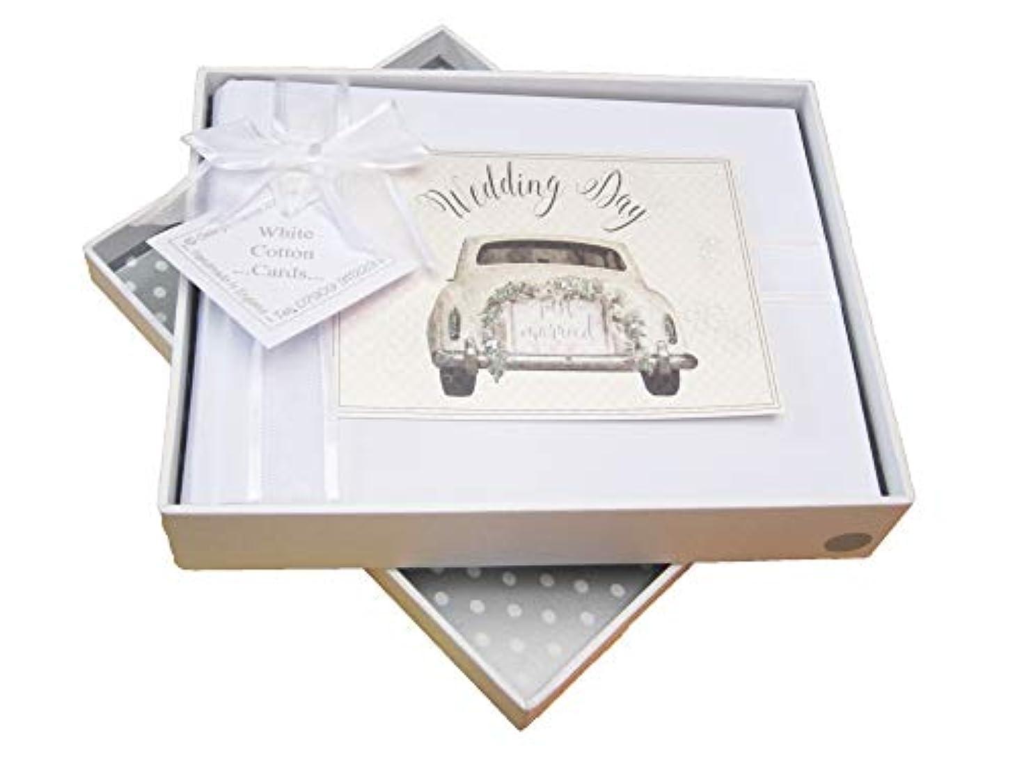 White Cotton Cards Wedding Day Photo Album, Wedding Car Design (NWC1S)