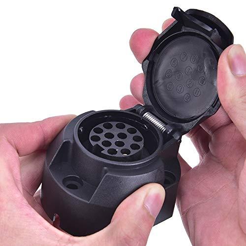 Impermeable Accesorios for remolques de bote de zócalos de tráiler de 12V: adaptador del conector de la caravana del poste del núcleo de 7 pines (Color : Black)