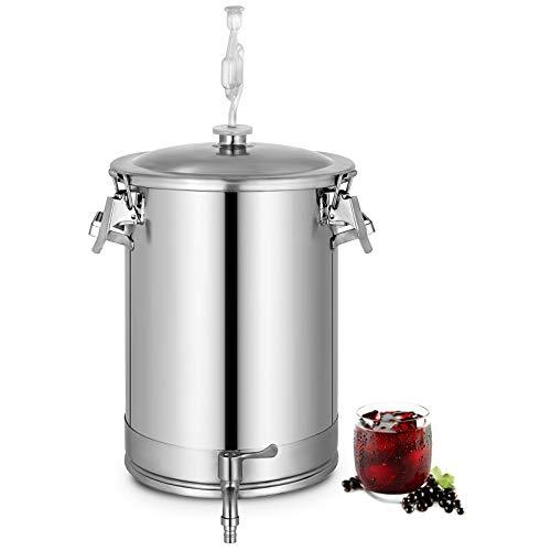 GIOEVO Fermentatore per Birra in Acciaio Inossidabile 28L Fermentatore a Secchio per Birra Fatto in Casa con Attrezzatura per Fermentazione (28L)