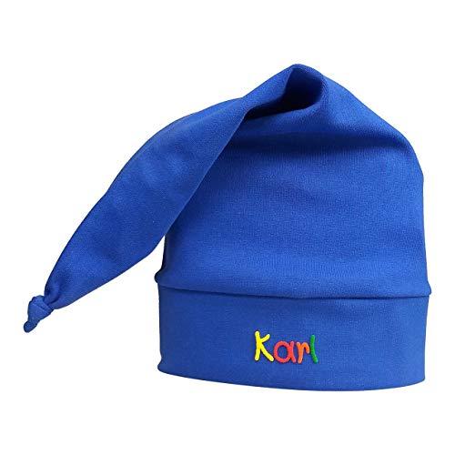 Zipfelmütze Hellblau mit Namen - Mütze für Kinder Winter personalisiert in verschiedenen Farben - Wintermütze Kindermütze Mädchen Junge mit Wunschbeschriftung