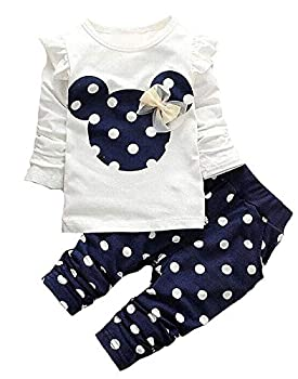 Baby Girl Clothes 2 Pieces Long Sleeved Cute Toddler Infant Outfits Kids Tops + Pants Set 9-18 Months,Blue