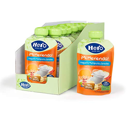 Hero Baby Mi Merienda Bolsitas de Yogurín Multifrutas y Cereales - Pack de 18x100gr