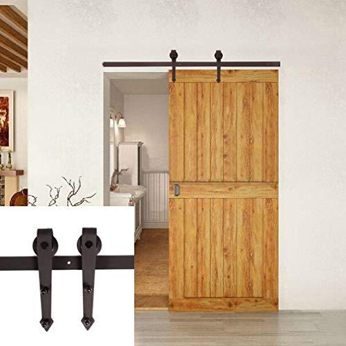 Juego de herrajes para puerta corredera de 6.6ft, riel para puerta corredera, sistema de puerta corredera, kit de hardware para puertas correderas, paredes divisorias interiores y armarios de pared