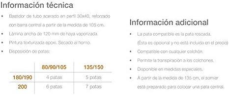 Ventamueblesonline SOMIER LÁMINA 100 Haya: Amazon.es: Hogar