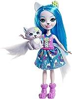 Enchantimals Mini-poupée Winsley Loup et Figurine Animale Trooper, aux cheveux bleus avec jupe à motifs en tissu, jouet...