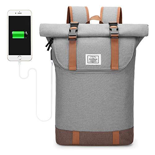 JOSEKO Laptop-Rucksack, Reiserucksack Leichter Wasserdicht Herren&Damen Rucksack mit Laptopfach Outdoor Rucksack mit großer Kapazität und USB Ladeanschluss Hellgrau