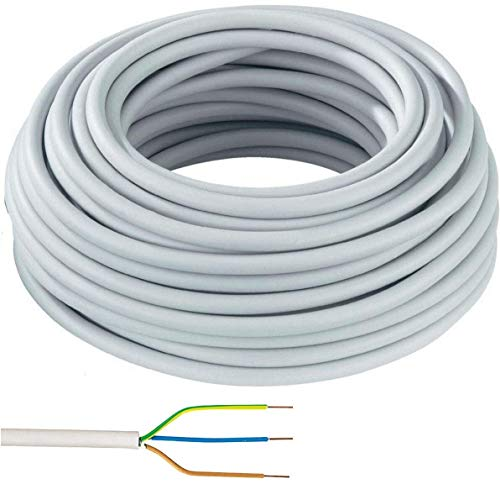 Elektro Kabel Mantelleitung NYM-J 3x1,5mm² Kabel | 50m Ring, 3 adriges Installationskabel Steckdosen