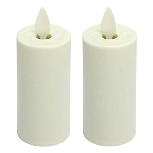 Liown 17777 - 1.5' x 3' Ivory (Unscented) Straight Edge Battery Operated Moving Flame LED Matte Plastic Votive Candle with Timer (2 pack)