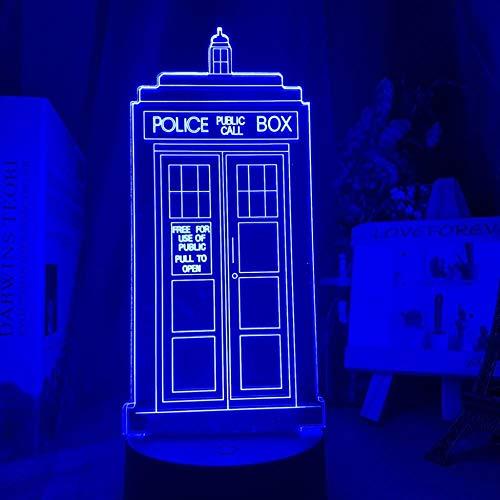 3D Night Lamp Optical Led Night Light Lamp Box Nightlight for Kids Bedroom Decor Police Box Gift for Child Room Table Lamp-Fernbedienung
