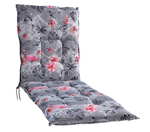 Liegenauflage Polsterauflage Gartenauflage   Grau   Flamingomotiv   60 x 190 cm   Baumwolle   Polyester