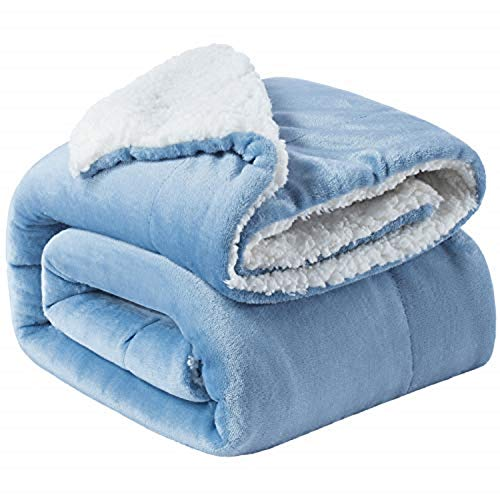 Bedsure Sherpa Throw Blanket Washed Blue Twin/Double Size (150 x 200cm) Fleece Bed Throws Warm Reversible Microfiber Solid Blankets for Bed and Couch