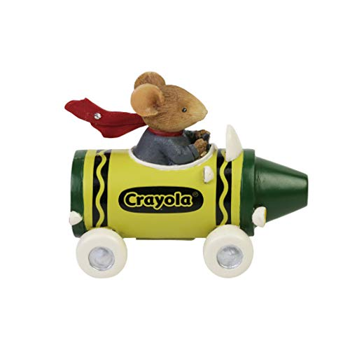 Enesco Tails with Heart Crayola Mouse Driving Crayon Race Car Figurine, 2.32 Inch, Multicolor
