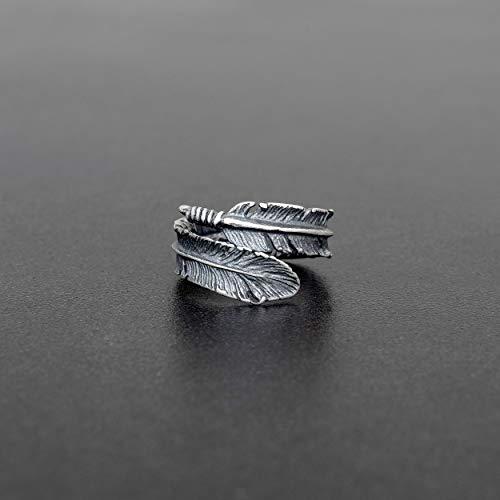 925 anillo de plata esterlina para hombres anillo hombres joyería para hombre regalo para hombres anillo de plumas anillo indio anillo bohemio anillo de rock anillo boho anillo punk