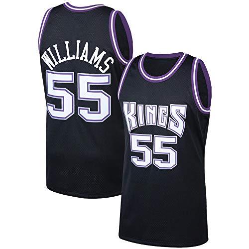 WSUN Maglia da Basket da Uomo NBA Sacramento Kings 55# Jason Williams Jersey NBA Unisex Top Senza Maniche Magliette da Competizione per Sport all'Aria Aperta Gilet,L