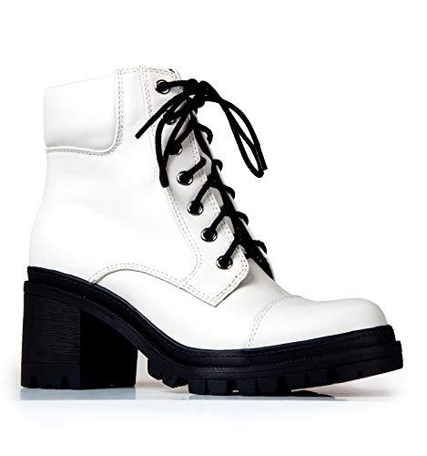 J. Adams Pulse Combat Boots for Women - White & Black Faux Leather Heels - 7