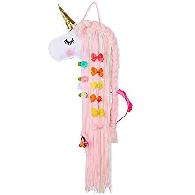 Basumee Unicorn Hair Bow Holder for Girls Wall Hanging Decor and Baby Hair Clip Hanger Organizer, Pink White Unicorn