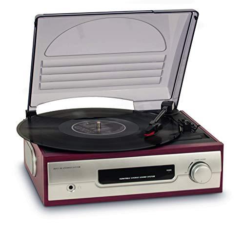 BigBen TD012 Stereo Plattenspieler (33 & 45 U/min) mit 2 eingebauten Lautsprechern