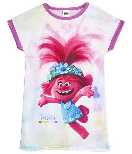 Trolls Pyjama, Nachthemd, Schlafanzug Mädchen, Poppy Kinder Nachtwäsche, Lang Tshirt Nachthemden für Mädchen, Weich Material Mehrfarbig, Viele Große, Geschenke für Kinder (7-8 Jahre)