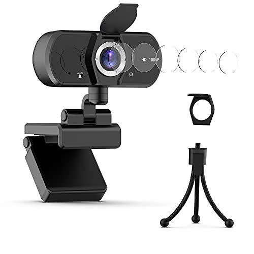 Webcam PC 1080P HD con Micrófono Y Cubierta de privacidad Gran Angular de 110 Grados,Streaming Cámara Portátil USB 2.0 Web Cámara Corrección Windows/Videollamadas/Conferencia/Grabación por Uflatek
