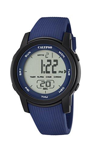 CALYPSO Reloj Modelo K5698/2 de la colección Color Splash, Caja de 45,5 mm Negro con Correa de plástico Azul para Caballero