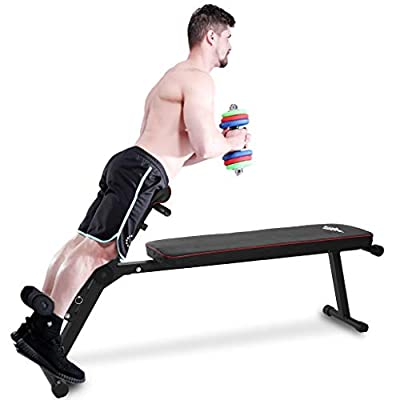 TTINA Multi-Functional Bench for Full All-in-One Body Workout, Hyper Back Extension, Adjustable Sports Stretching Stool Roman Chair Ab Sit up Bench, Decline Bench, Flat Bench (Black, US Direct)