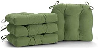 SET OF 4 GREEN MICROFIBER SOFT PLUSH KITCHEN DINING CHAIR PADS CUSHIONS