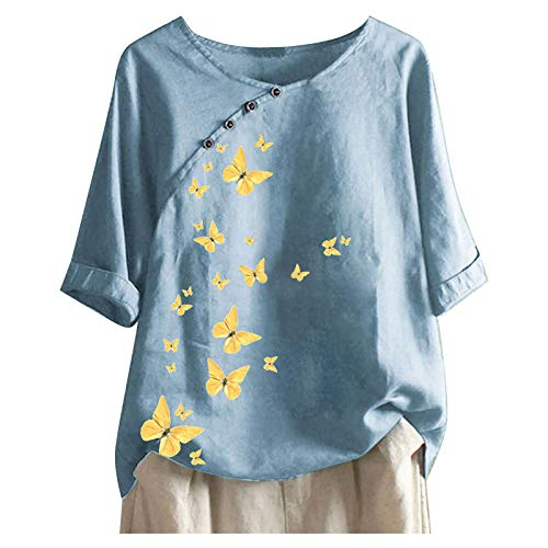 Solid Color Women's Crewneck Short Sleeve Tops Classic Cotton Linen T-Shirt for Women Summer Fashion Butterfly Print Blause Tee Plus Size Tshirt Tops for Teen Girls Women Gifts Sky Blue