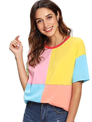 Romwe Women's Colorblock Summer Contrast Neck and Sleeve Casual Striped Tee T-shirt Top green blue Large