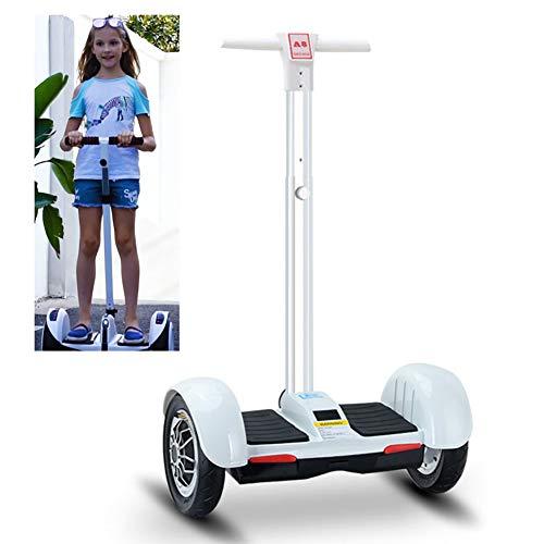 Patinete Eléctrico 10 Pulgadas Self Balancing Scooter con Barandilla De Seguridad con Fuerte Dual Motor Y LED E-Skateboard Bluetooth Hoverboard Regalo para Niños,Blanco