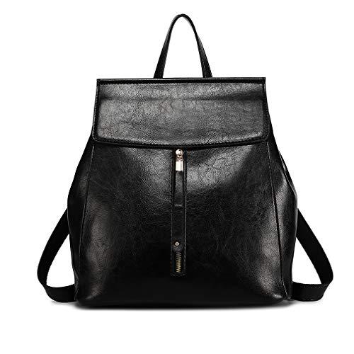 Miss Lulu Classico Pelle sintetica Zaino per donna Fashion Daypack per ragazza Zip Borse a tracolla (Nero)