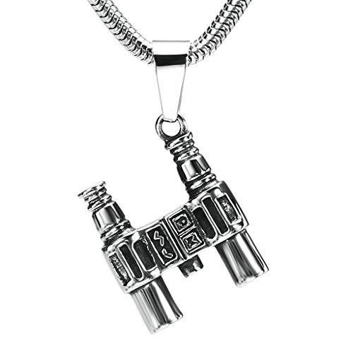 N/A Edelstahl Halskette Herren Anhänger Halskette Fernglas Silber 2,2 x 2,4 cm