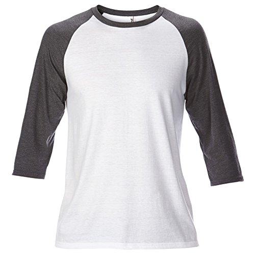 Anvil - T-shirt à manches 3/4 - Homme (2XL) (Blanc/Gris foncé)