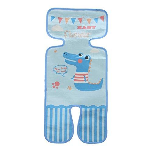 Sommer Kinderwagen Sitzkissen 5-Punkt Kinderwagen Warenkorb Sitzmatte Abdeckung atmungsaktive Ice Silk Fiber Pram Cool Pad mit Kissen für Baby(Kleines Krokodil)