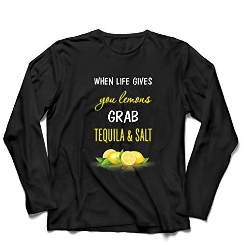 lepni.me Herren T Shirts Wenn das Leben Ihnen Zitronen gibt, greifen Sie zu Tequila und Salz-Zitat (XXL Schwarz Mehrfarben)