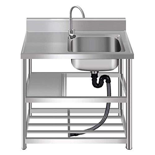 Giardino Fregadero de Cocina, Fregadero Comercial extraíble, con Estante de Almacenamiento/Grifo, Soporte Reforzado de Tres Capas, Fregadero y tazón de habitación de Alquiler para el hogar