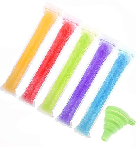 Uooker - Bolsas para hacer flash helados, desechables, con cierre de cremallera, palitos de yogurt, caramelo helado o flash, sin BPA, con embudo
